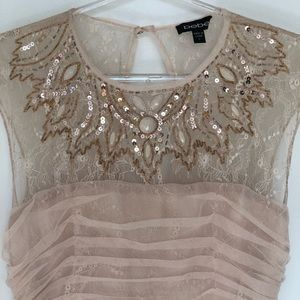 Embroidery Sequin Dress Nude